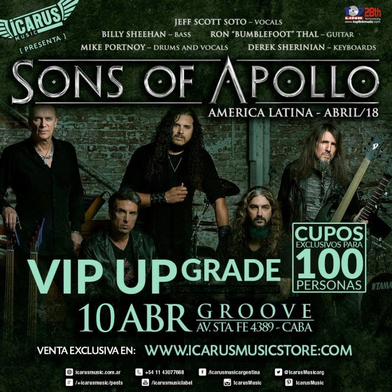 SONS OF APOLLO EN ARGENTINA - America Latina - Abril/18 - Upgrade VIP