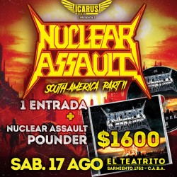 NUCLEAR ASSAULT en Argentina - Entrada + CD