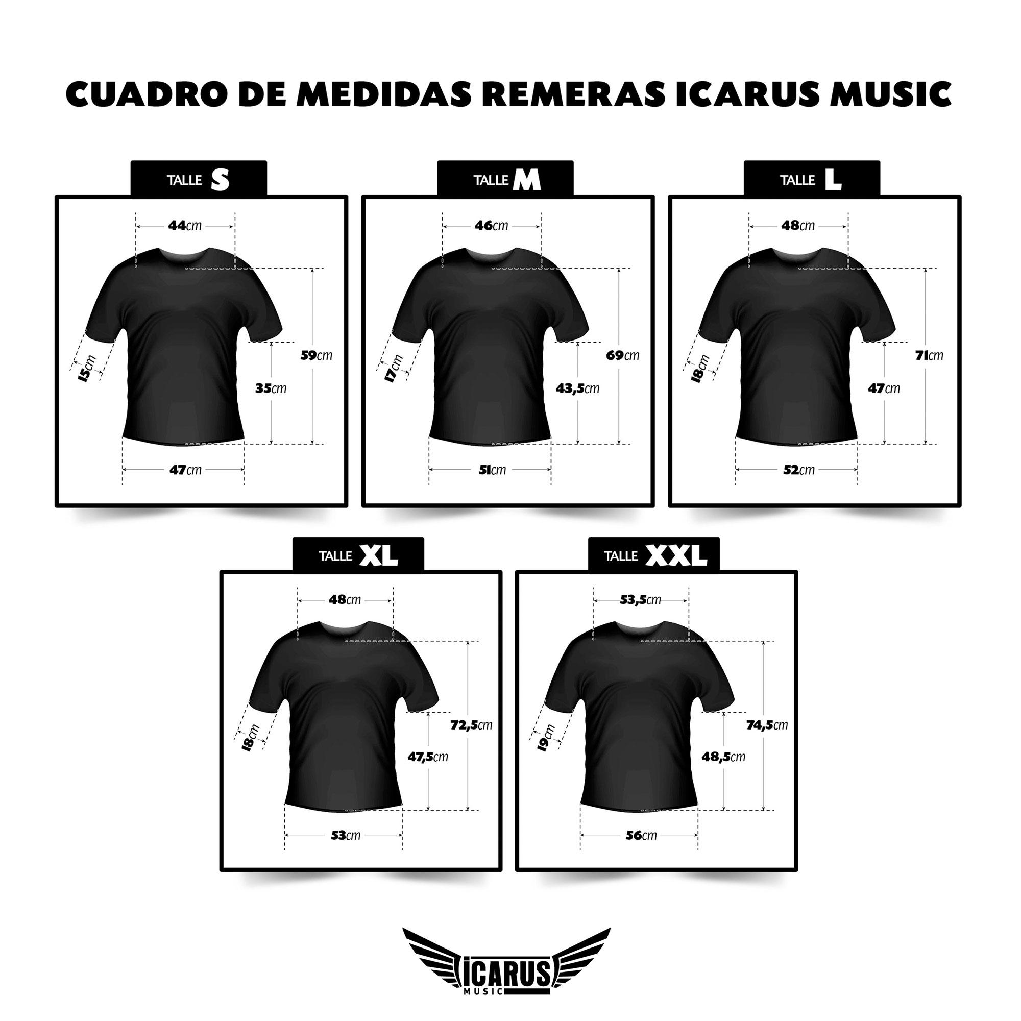 Medidas Remeras Icarus Music