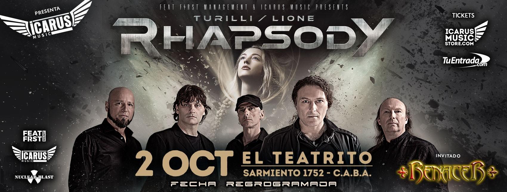RHAPSODY - Turilli / Lione - en Argentina la banda sinfónica italiana, se presentará en nuestro país el 21 de Marzo de 2020, en El Teatrito